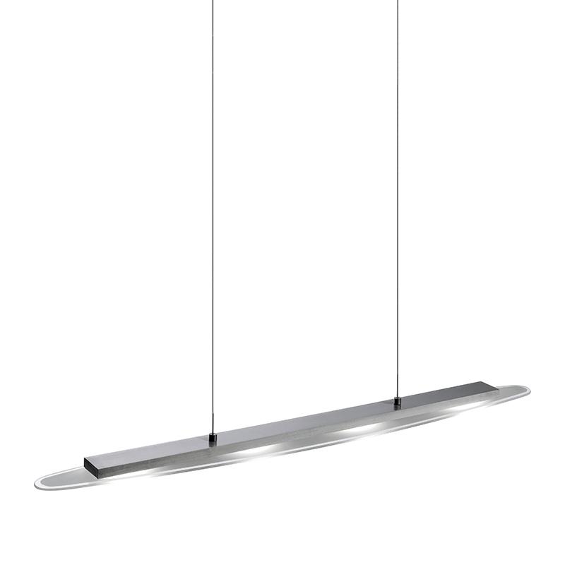 Moderne ovale hanglamp staal met glasplaat incl. LED - Danyl