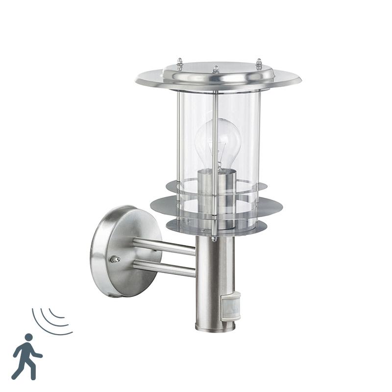 Landelijke cilinder buitenlamp staal met glas voor aan de muur met bewegingsmelder - Mirco