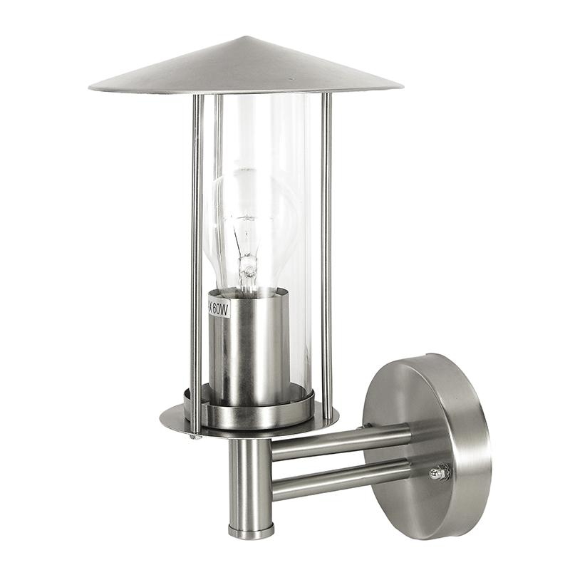 Design cilinder buitenlamp staal met glas voor aan de muur - Marc