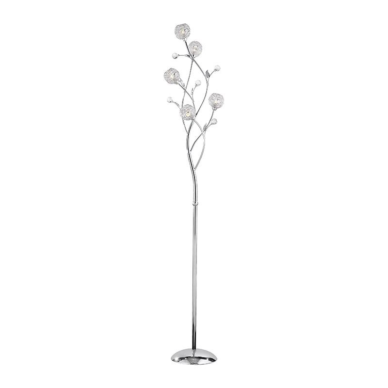 Art deco rechte vloerlamp staal met glas en sierkristallen - Portia