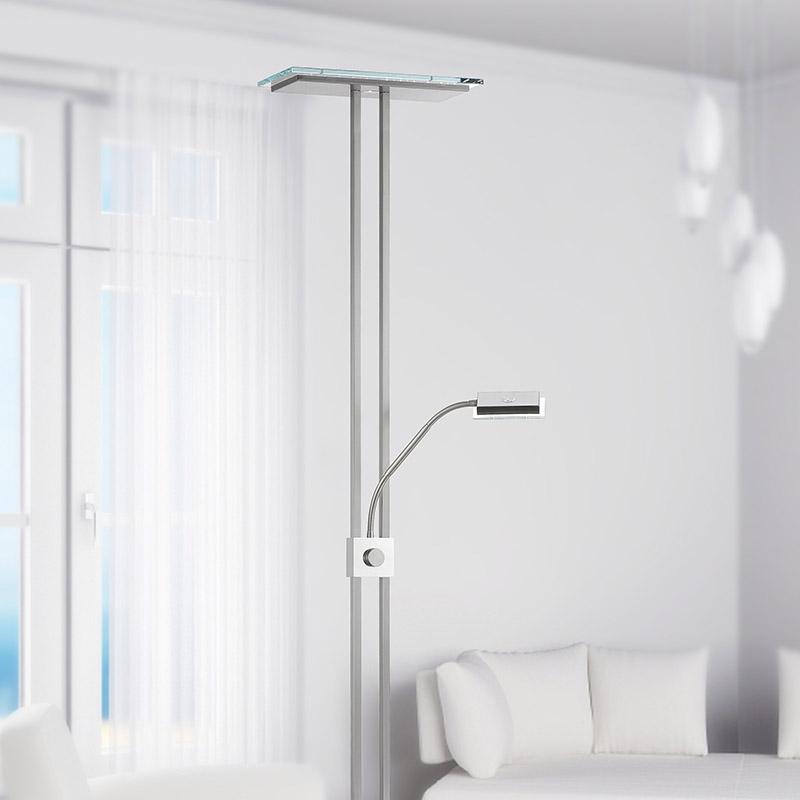 Moderne vierkante vloerlamp staal dimbaar met leeslamp incl. LED - Leya