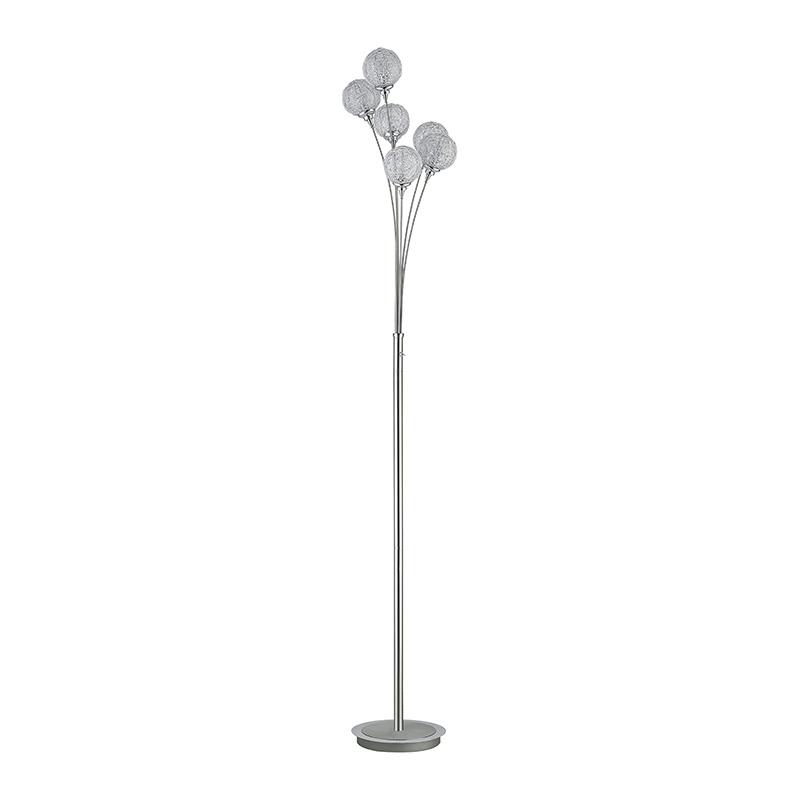Art deco rechte vloerlamp staal met bolvormige lichtpunten - Womble
