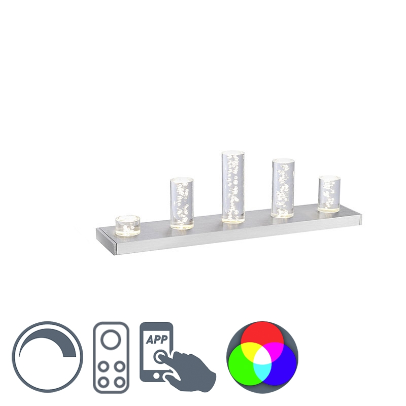 Moderne rechthoekige tafellamp staal met bubbelglazen RGBW smarthome incl. LED - Skyline