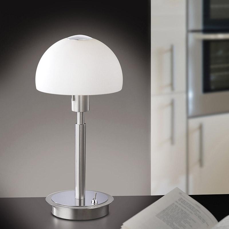 Moderne rechte tafellamp staal met bolvormige glas - Verona
