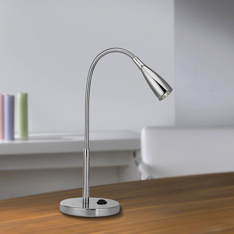 Design rechte tafellamp chroom met flex arm incl. LED - Levi