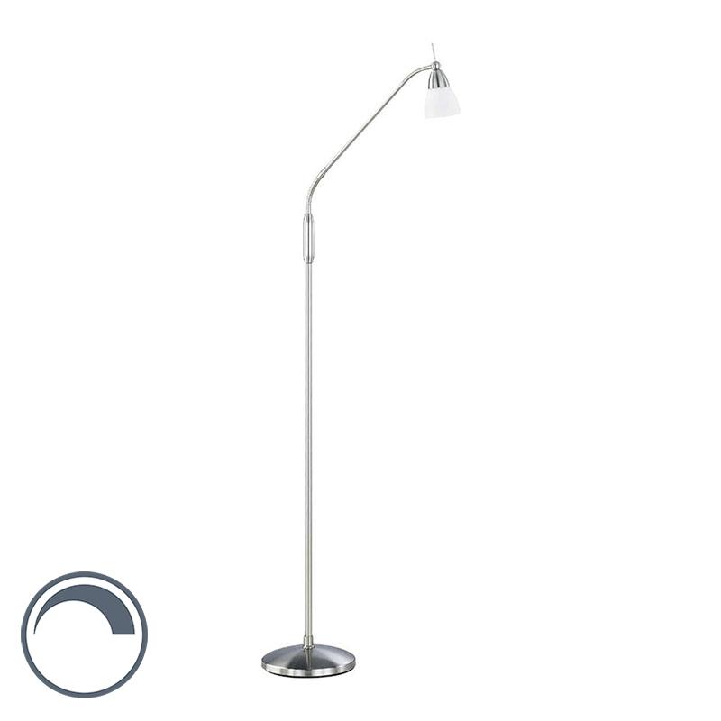 Moderne rechte vloerlamp staal met glas dimbaar- Pino