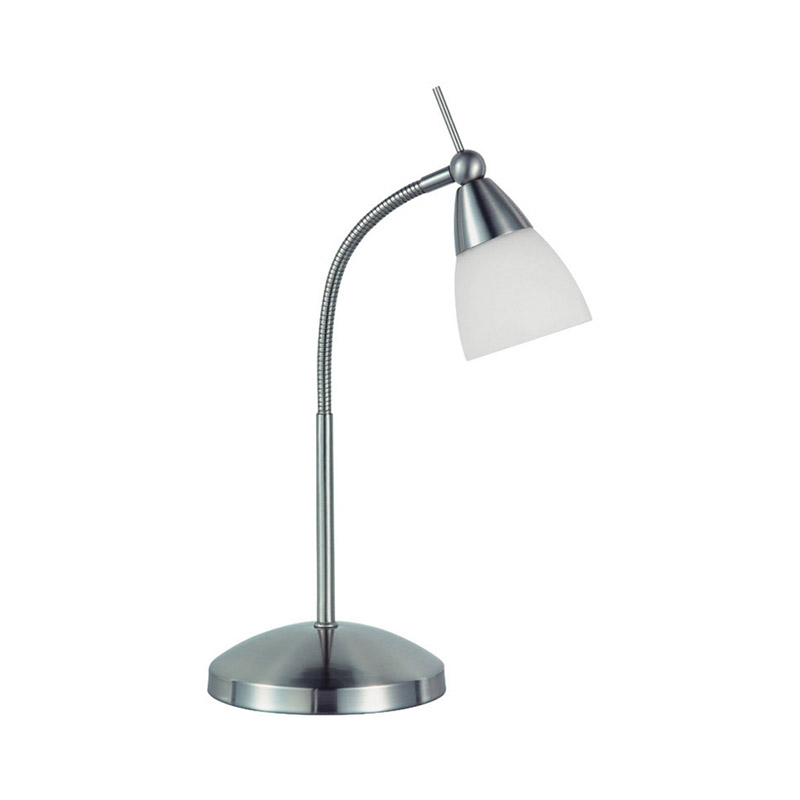 Moderne rechte tafellamp chroom met glas dimbaar - Pino