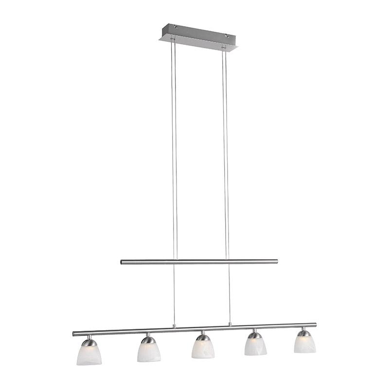 Moderne rechte hanglamp staal met glas incl. LED - Pabu