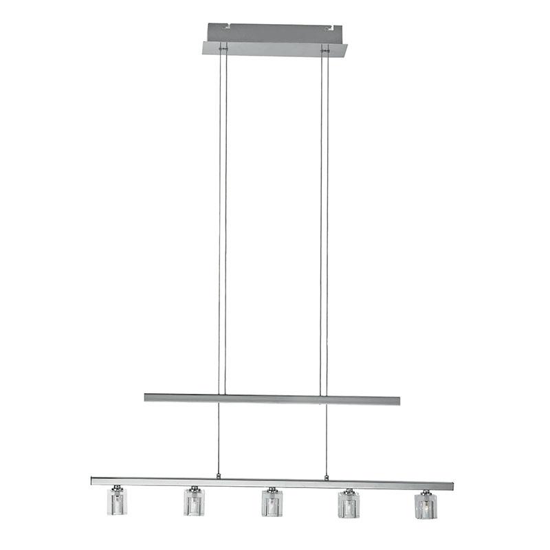 Moderne rechte hanglamp staal in hoogte verstelbaar 5-lichts - Britta