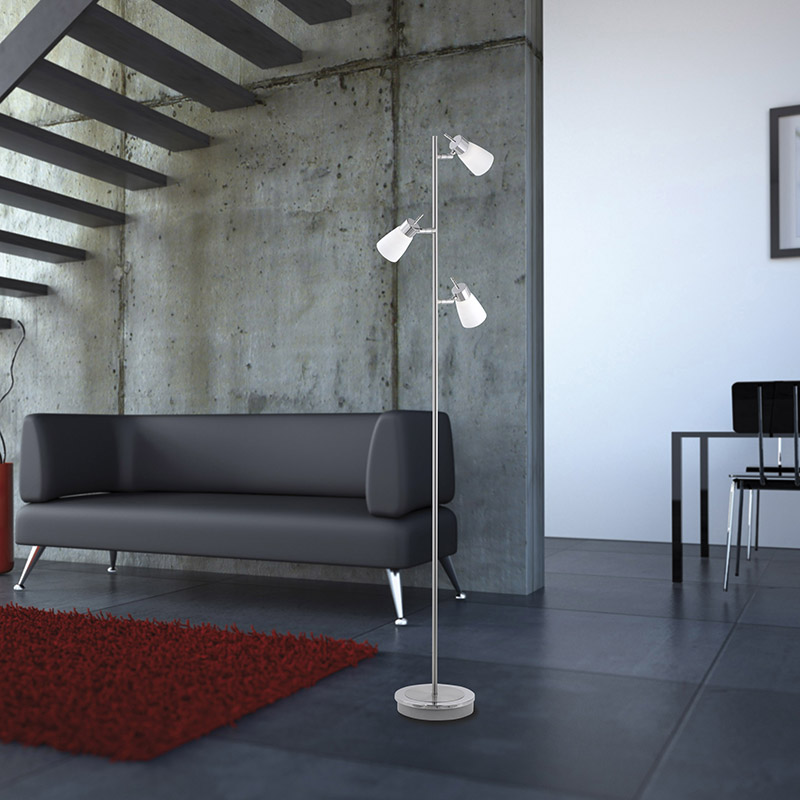 Moderne rechte vloerlamp staal met glas - Lesath