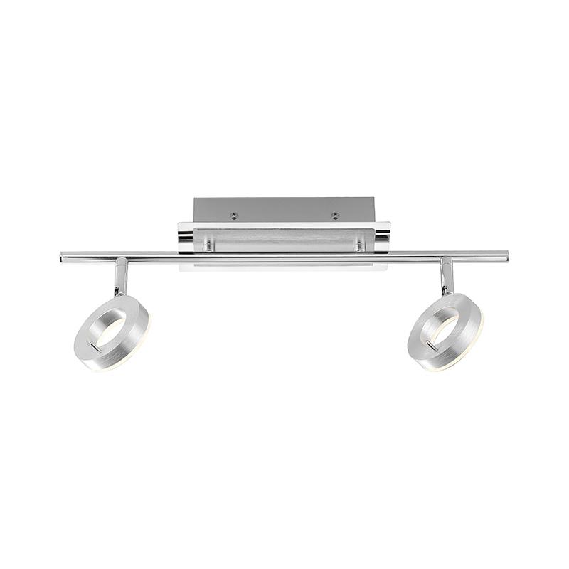 Image of Moderne rechte plafondlamp aluminium met 2 ronde glazen incl. LED - Sileda