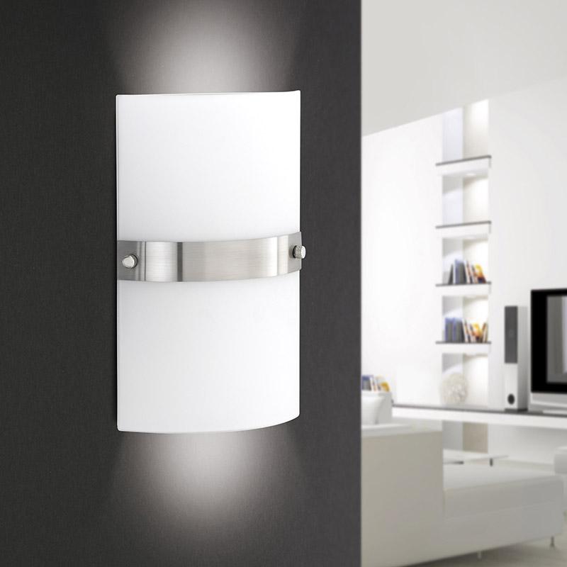 Moderne vierkante wandlamp staal met wit glas - Square