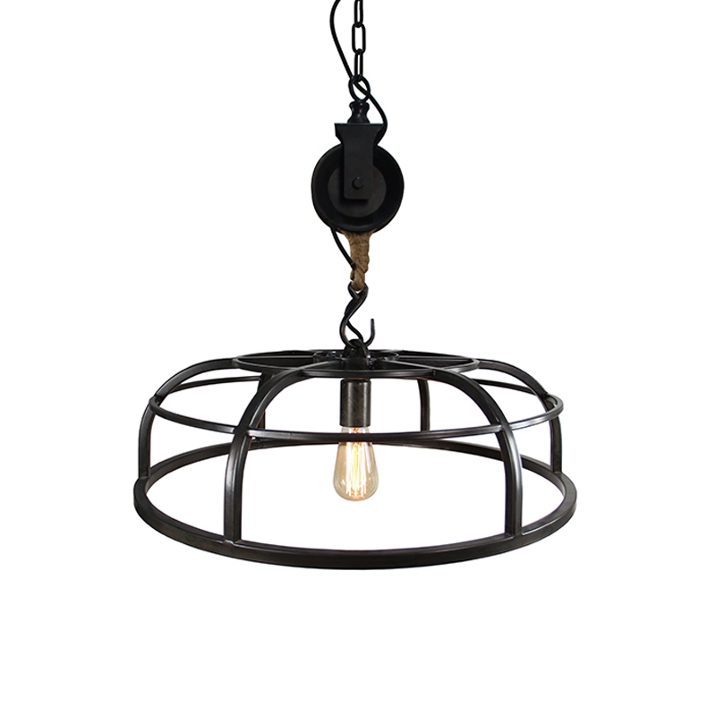 Industriele ronde hanglamp gebrand staal 60cm - Camelot