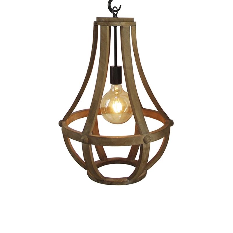 Industriele ronde hanglamp houtkleur 43cm - Morgana