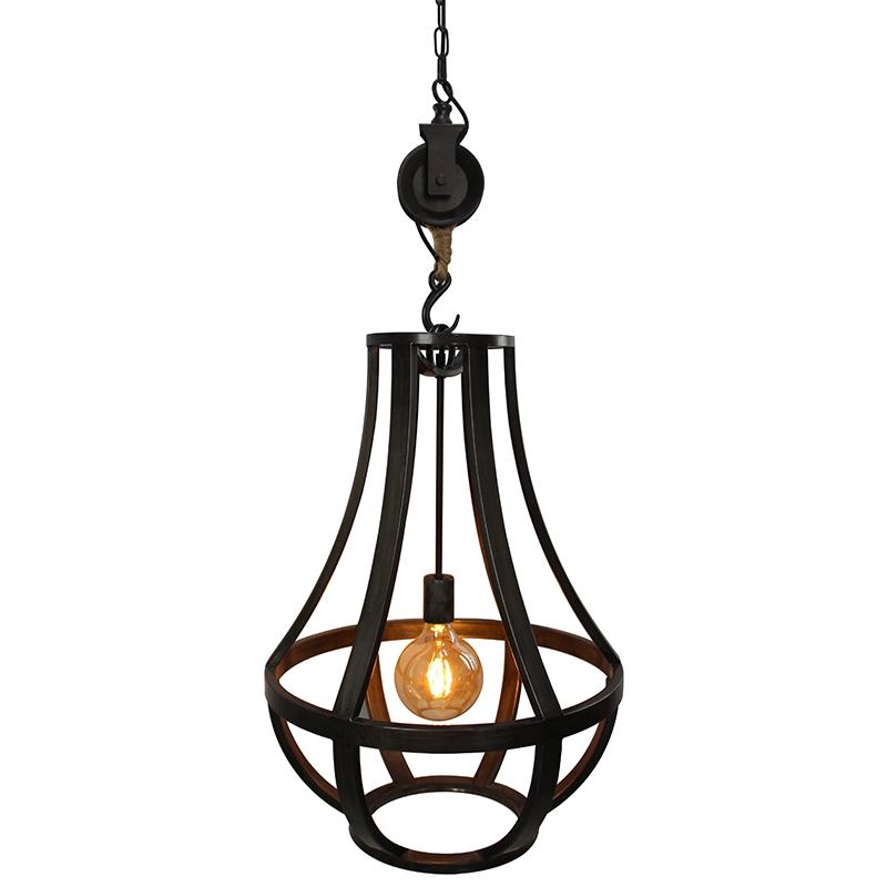 Industriele ronde hanglamp gebrand staal 50cm - Morgana