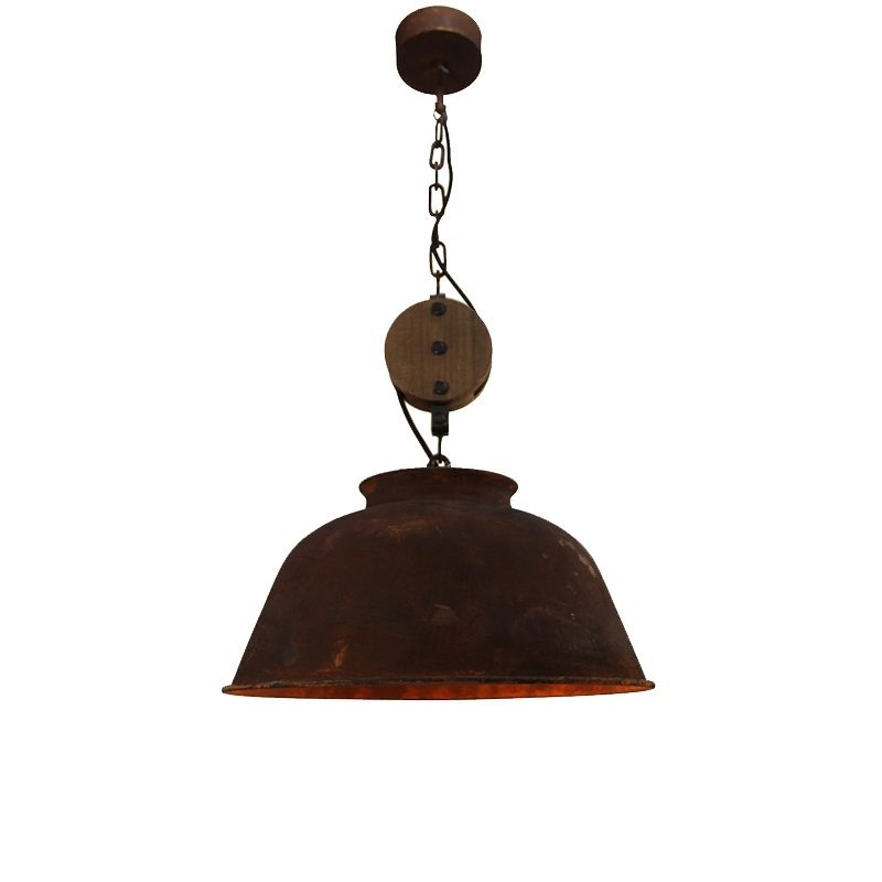 Industriele ronde hanglamp roest - Bax