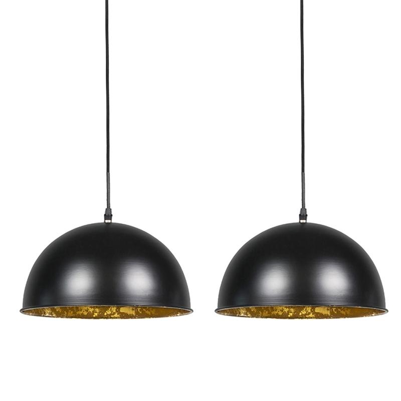 Set van 2 hanglampen Magna 30 mat zwart met gouden binnenkant