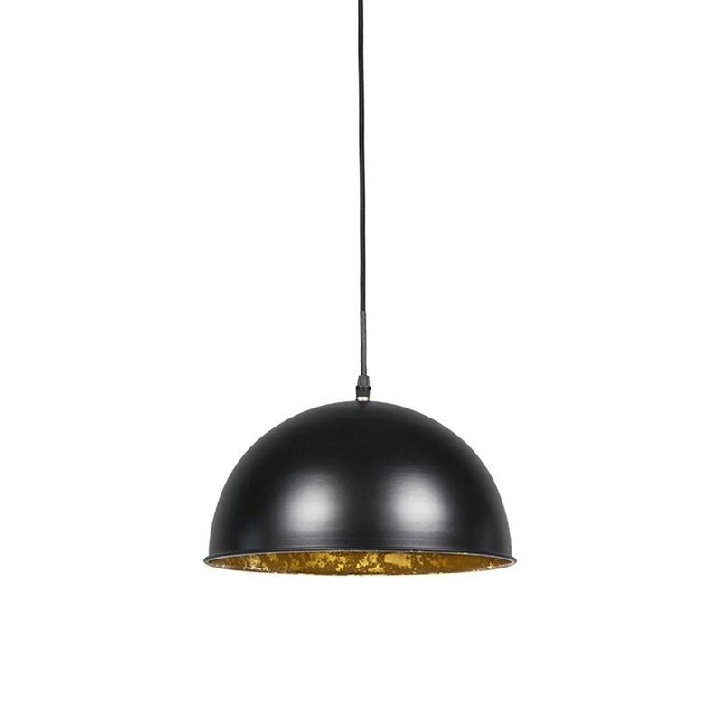 Set van 2 hanglampen zwart met goud 30 cm - Magna