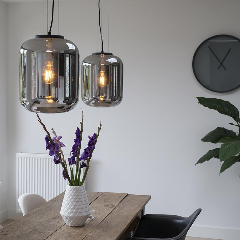 Zestaw 2 designerskich lamp wiszących czarnych ze szkłem dymnym - Bliss