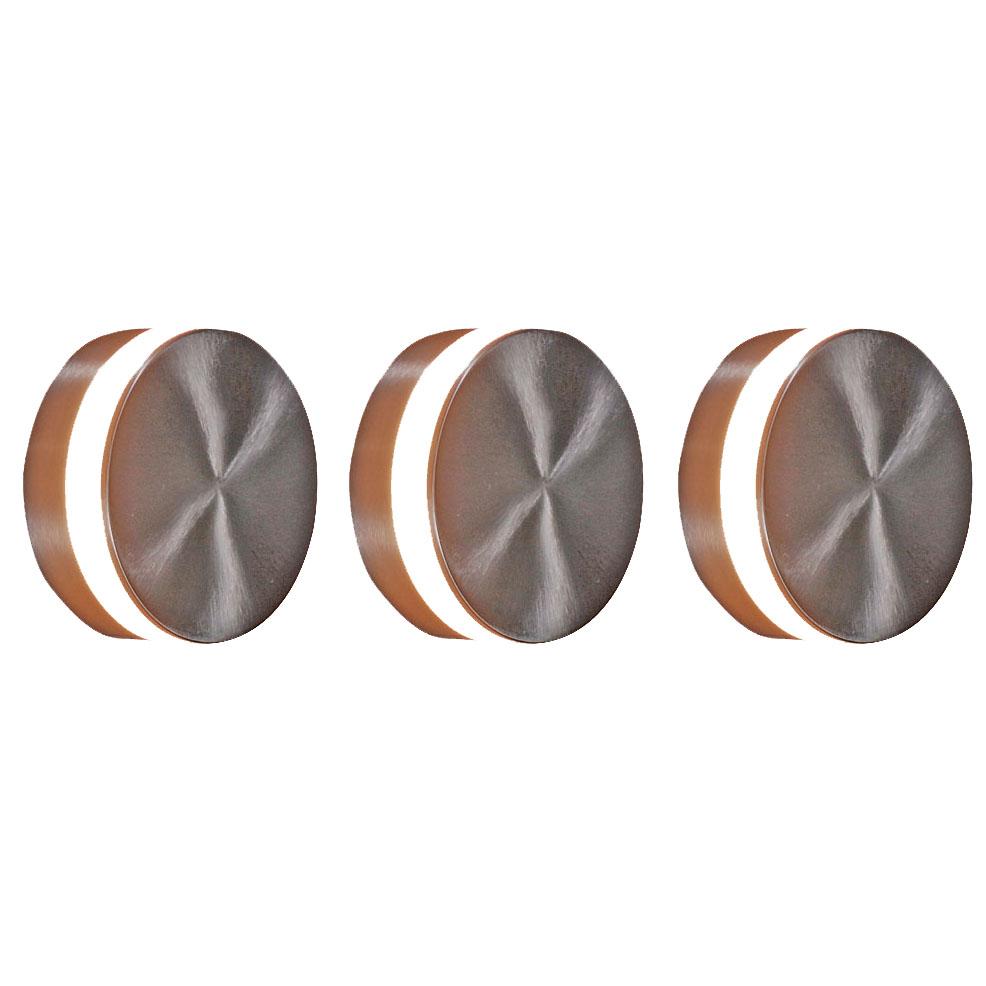 Set van 3 wandlampen staal incl. LED IP44 - Theo Round