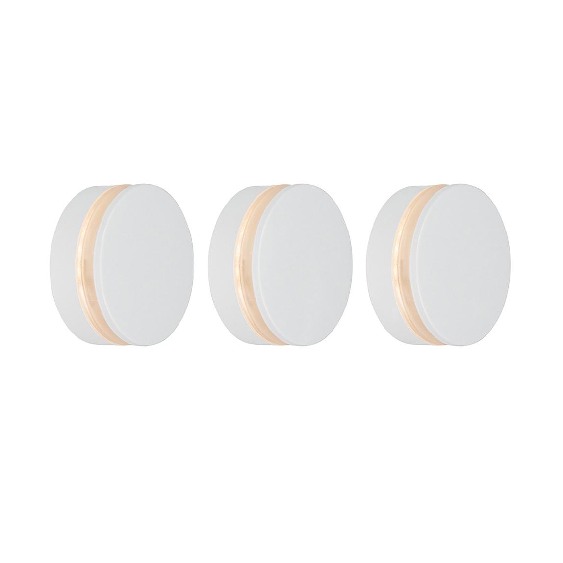 Set van 3 wandlampen Theo Round wit