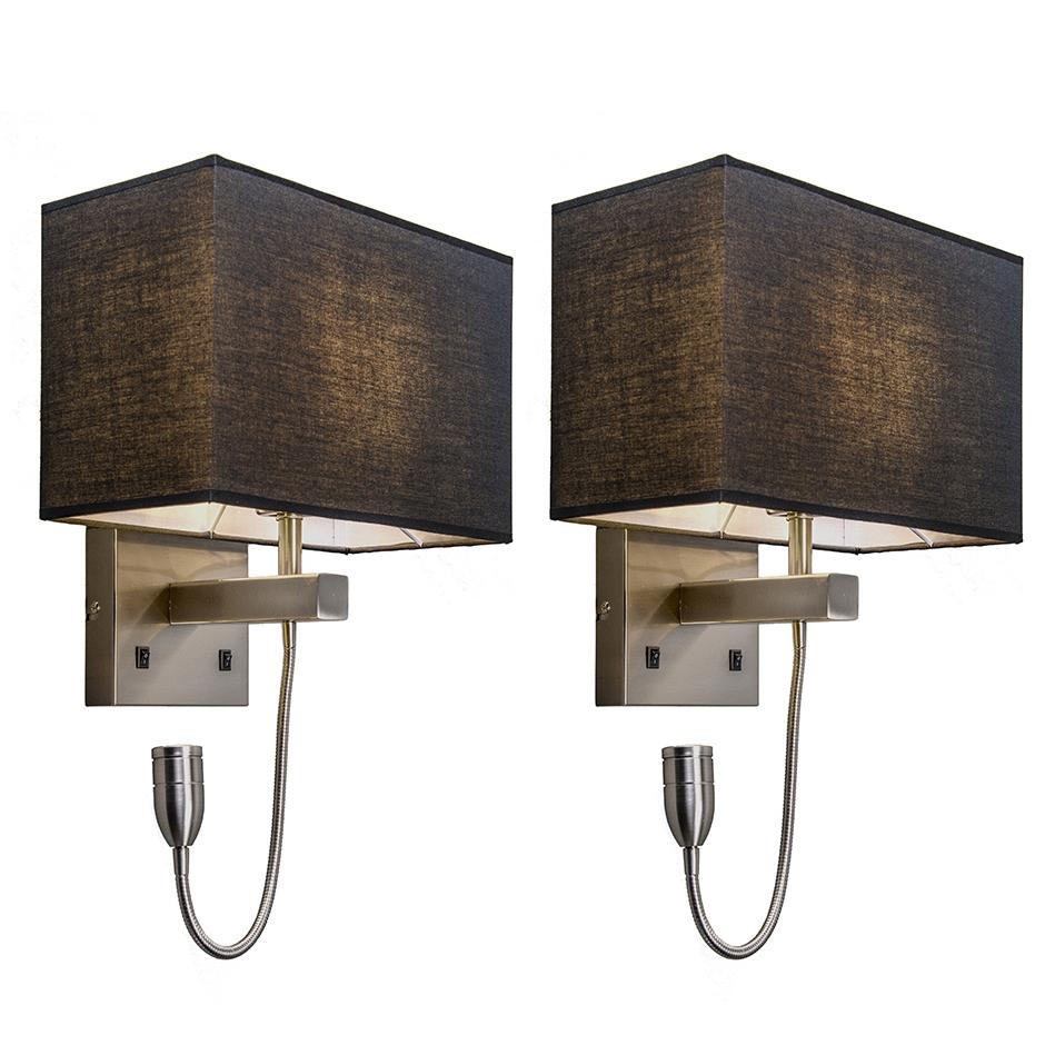 Set van 2 wandlampen staal met kap, leesarm incl. LED - Bergamo