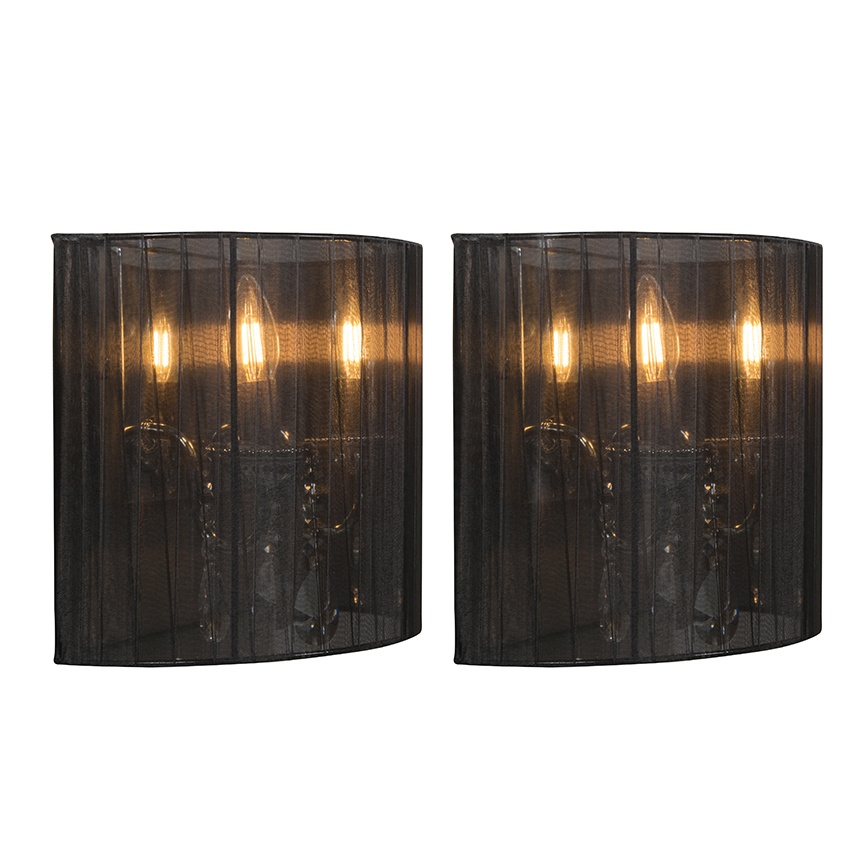 Set van 2 wandlampen chroom met zwarte kap - Ann-Kathrin 2