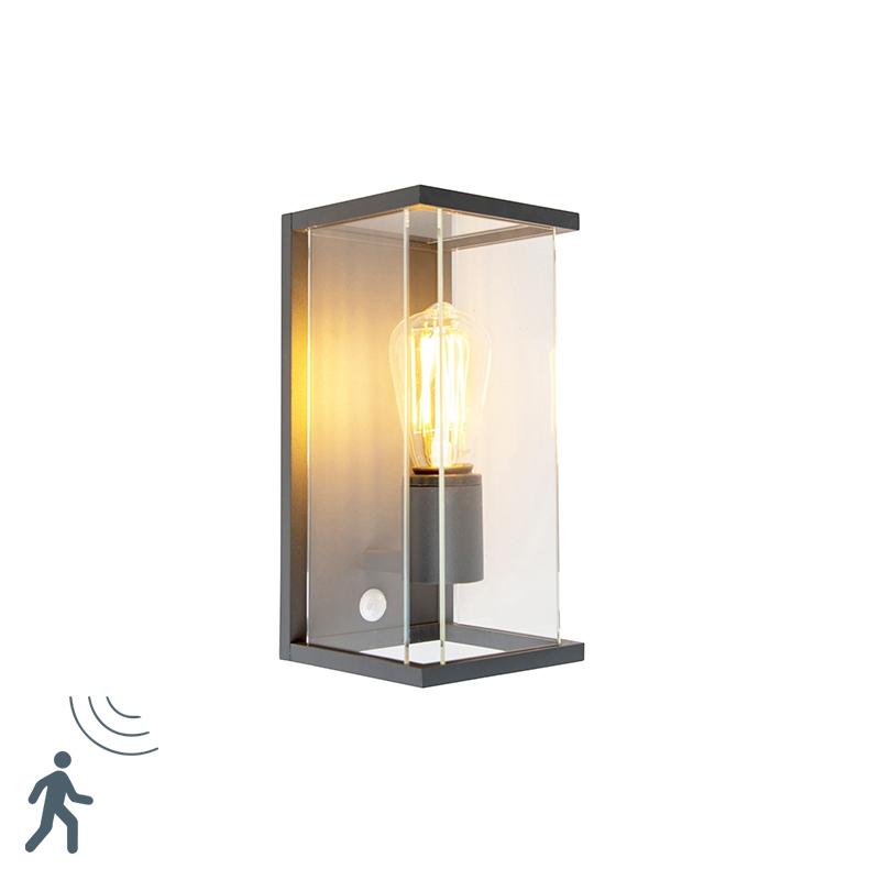 Moderne buitenwandlamp donkergrijs met bewegingsmelder - Zaandam