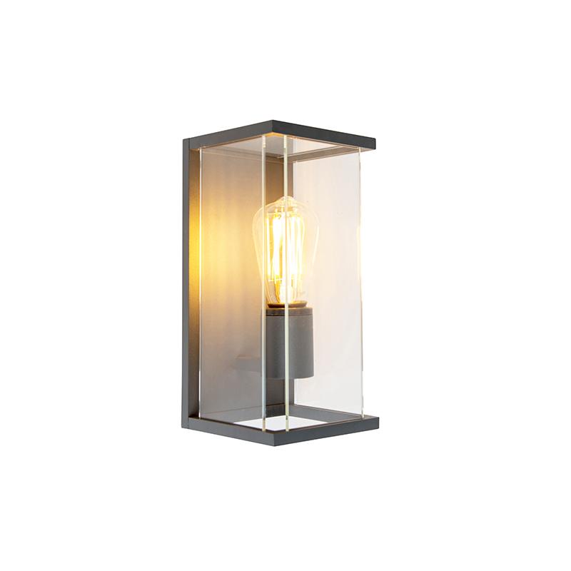 Moderne rechthoekige buitenwandlamp donkergrijs - Zaandam
