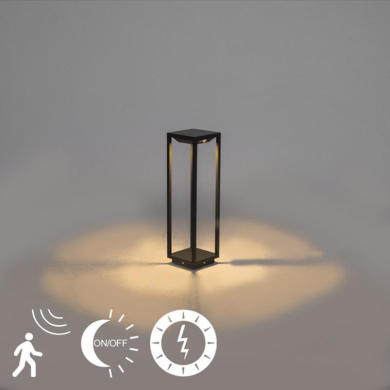 Moderne tuinpaal 50cm donkergrijs solar schemer/beweging - Volendam