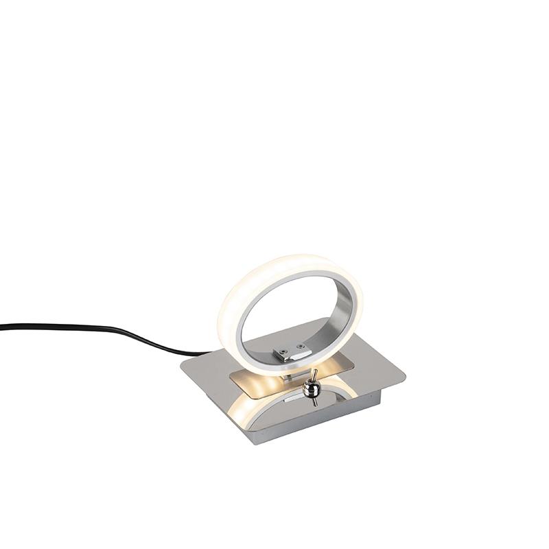 Moderne ronde tafellamp chroom incl. LED - Clinton