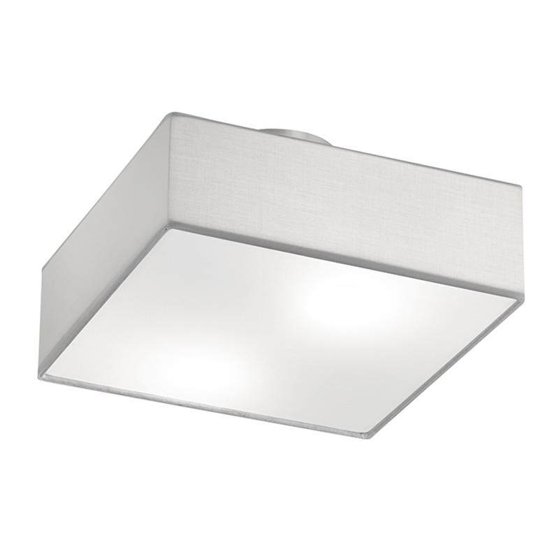 Moderne vierkante plafondlamp nikkel mat met witte kap 30cm - Embassy