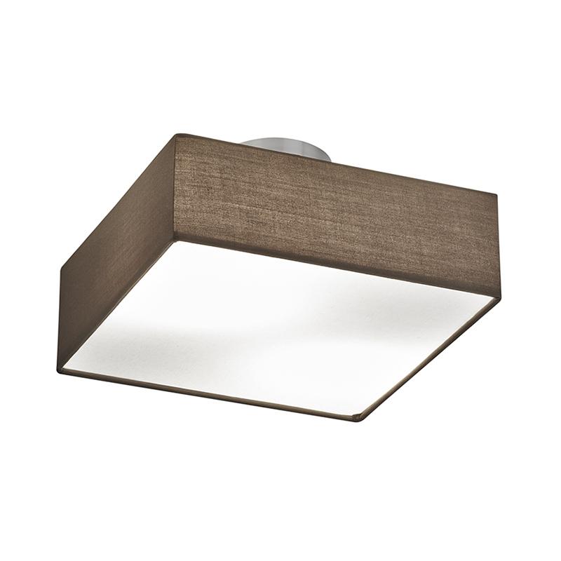 Moderne vierkante plafondlamp nikkel mat met bruine kap 30cm - Embassy