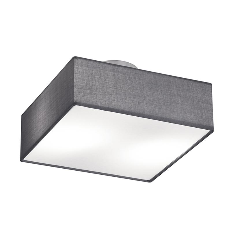 Moderne vierkante plafondlamp nikkel mat met grijze kap 30cm - Embassy