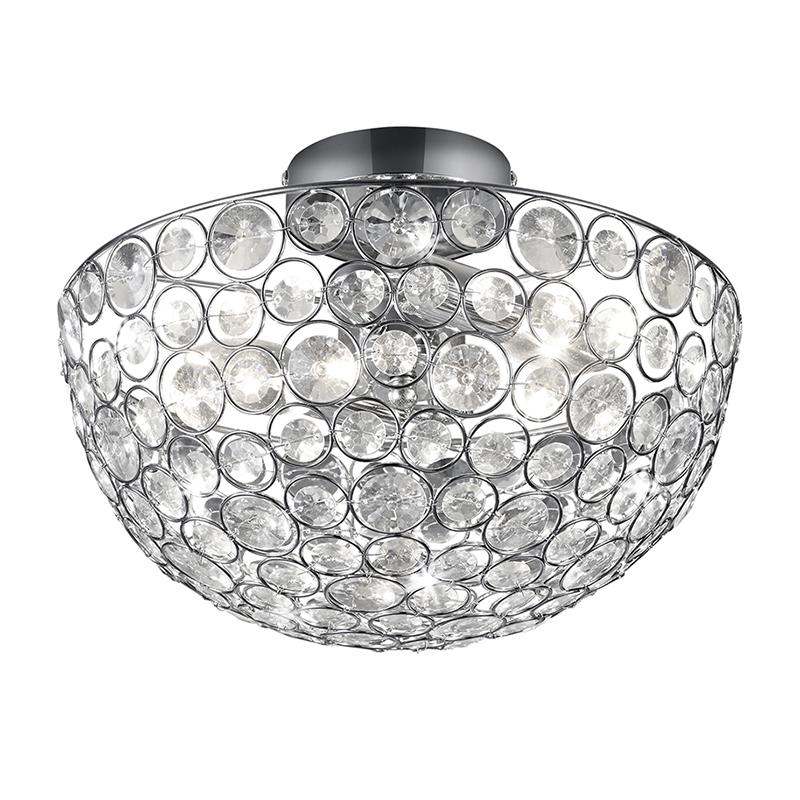 Klassieke ronde plafondlamp chroom met kristallen - Riad