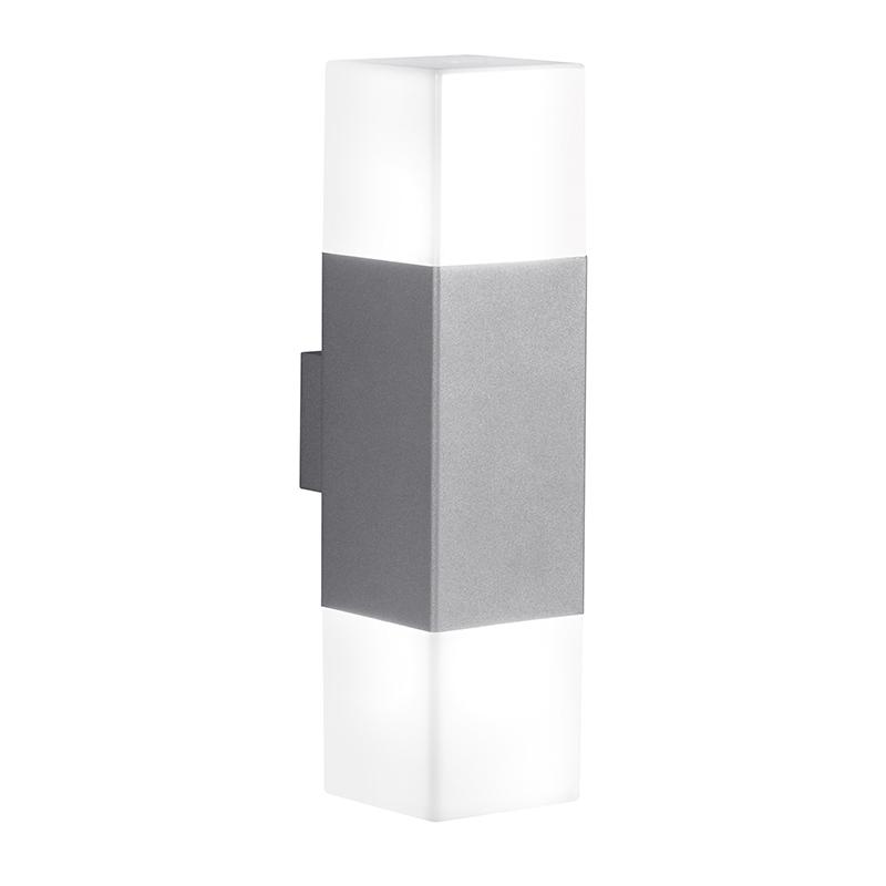 Moderne vierkante wandlamp staal incl. LED - Hudson