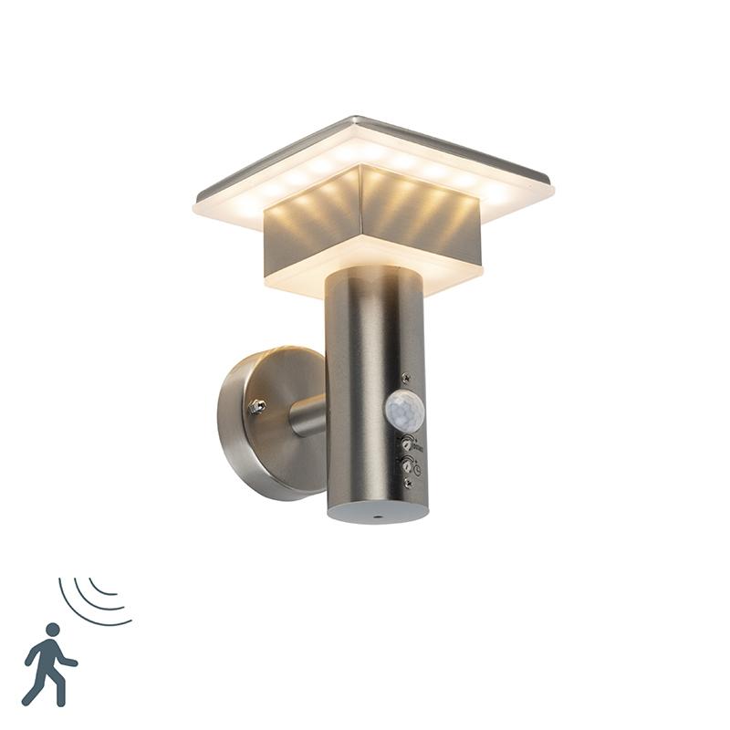 Moderne vierkante wandlamp staal incl. LED - Belem