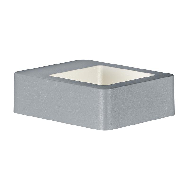Moderne vierkante wandlamp grijs IP54 incl. LED - Reno