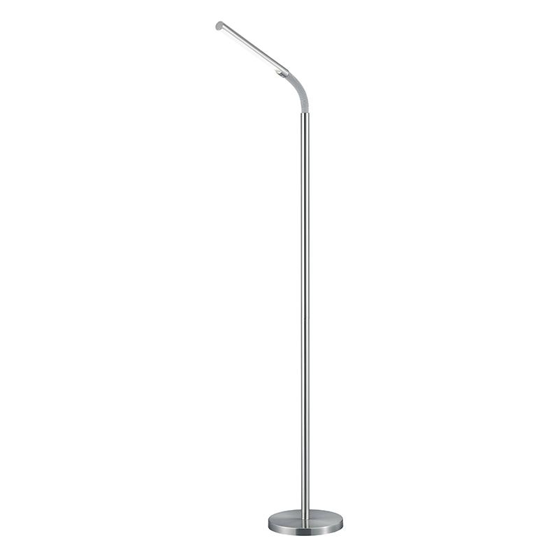 Nowoczesna podłużna lampa podłogowa nikiel mat wbudowany LED - Palo II