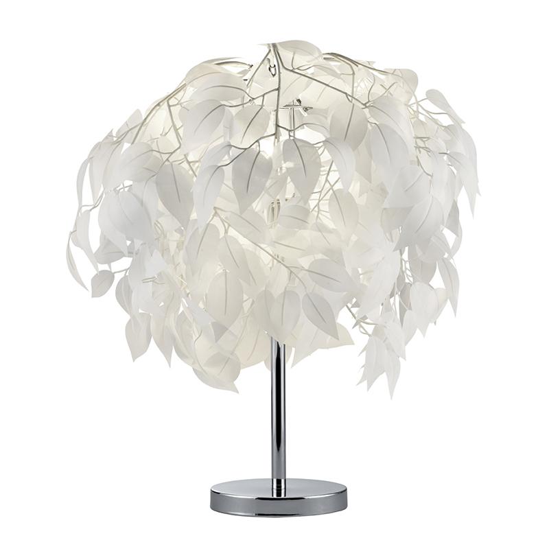 Moderne tafellamp chroom met witte blaadjes - Feder