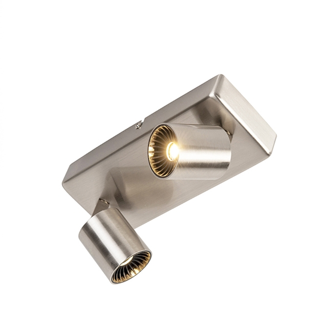 Moderne rechthoekige spot staal 2-lichts incl. LED - Cayman 2