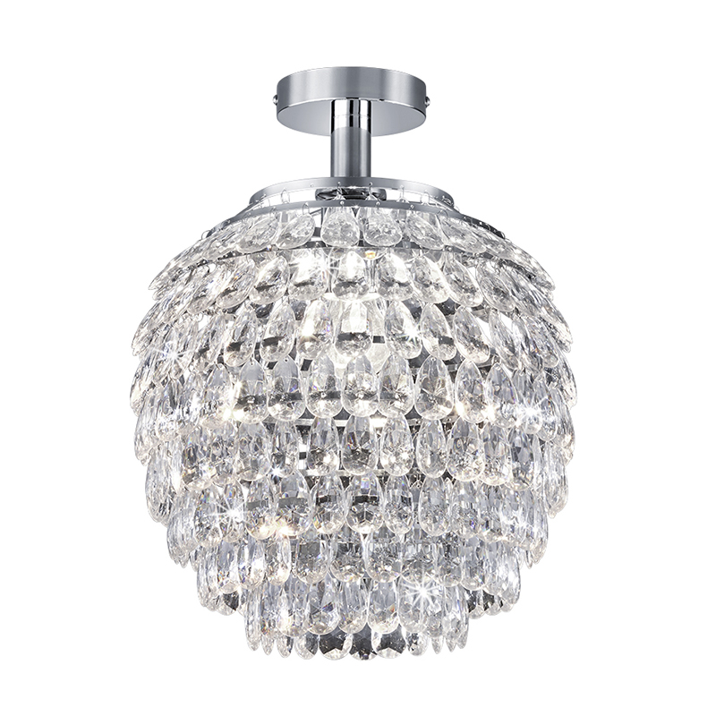 Klassieke ronde plafondlamp chroom - Petty