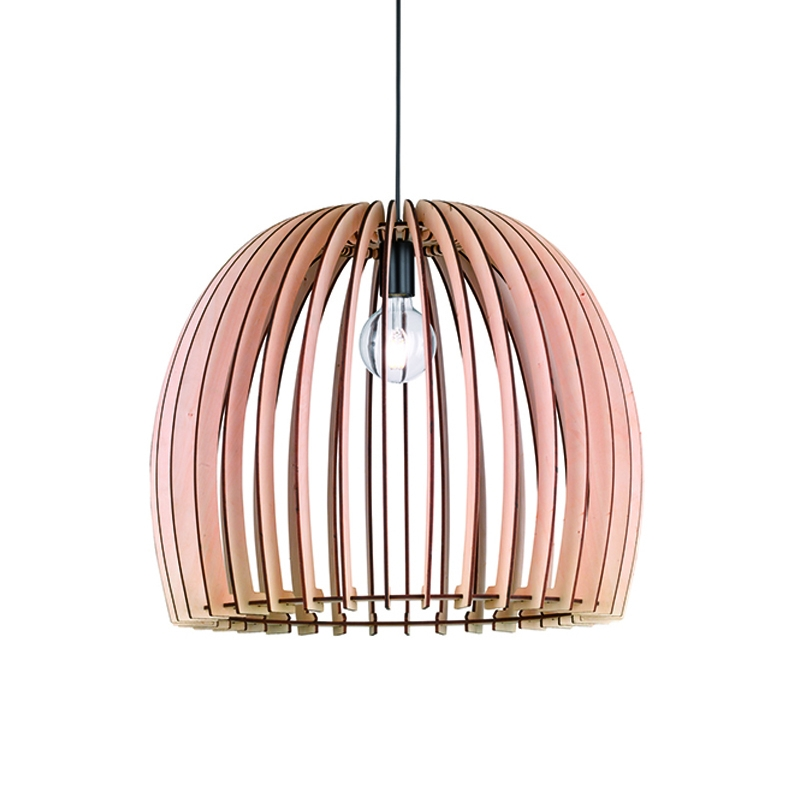 Landelijke ronde hanglamp houtkleur 60cm - Twan