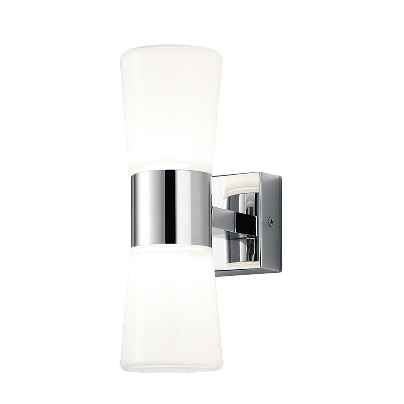 Moderne badkamer wandlamp chroom met 2 glazen incl. LED - Nevio