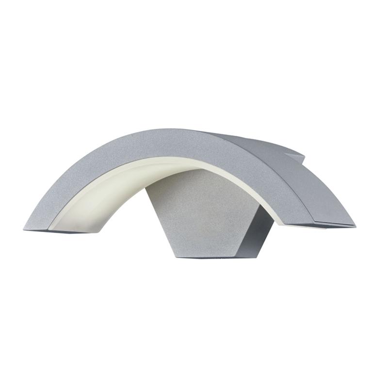 Moderne half ronde buitenwandlamp grijs incl. LED - Harlem