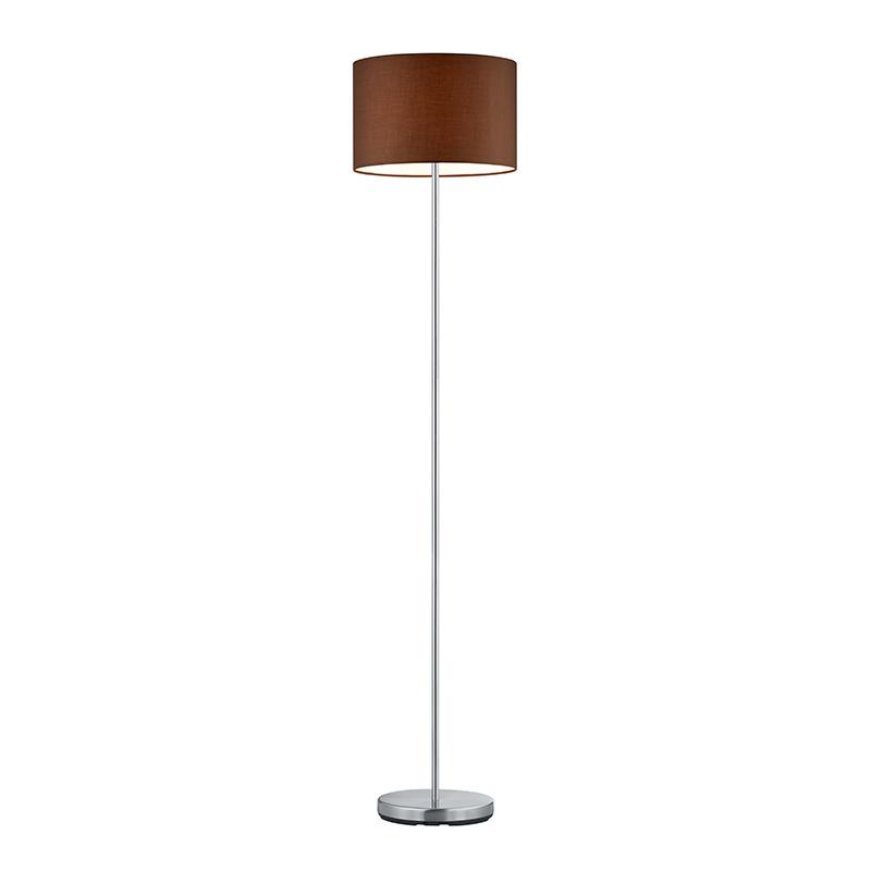 Moderne vloerlamp staal met bruine cilinder kap 35cm - Hotel