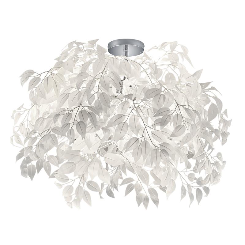 Nowoczesna lampa sufitowa chrom z białym 70 cm - Feder