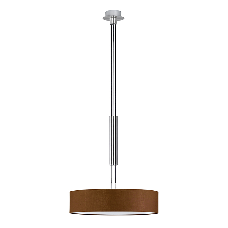 Moderne ronde hanglamp staal met bruine kap - Hotel
