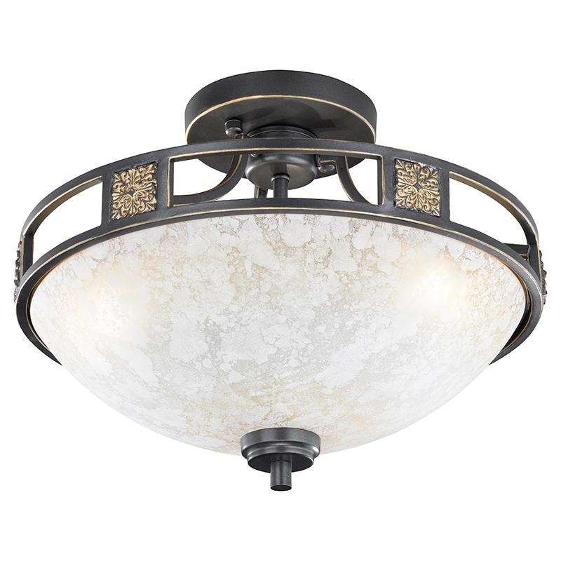 Landelijke ronde plafondlamp roestkleur 42cm - Quinta