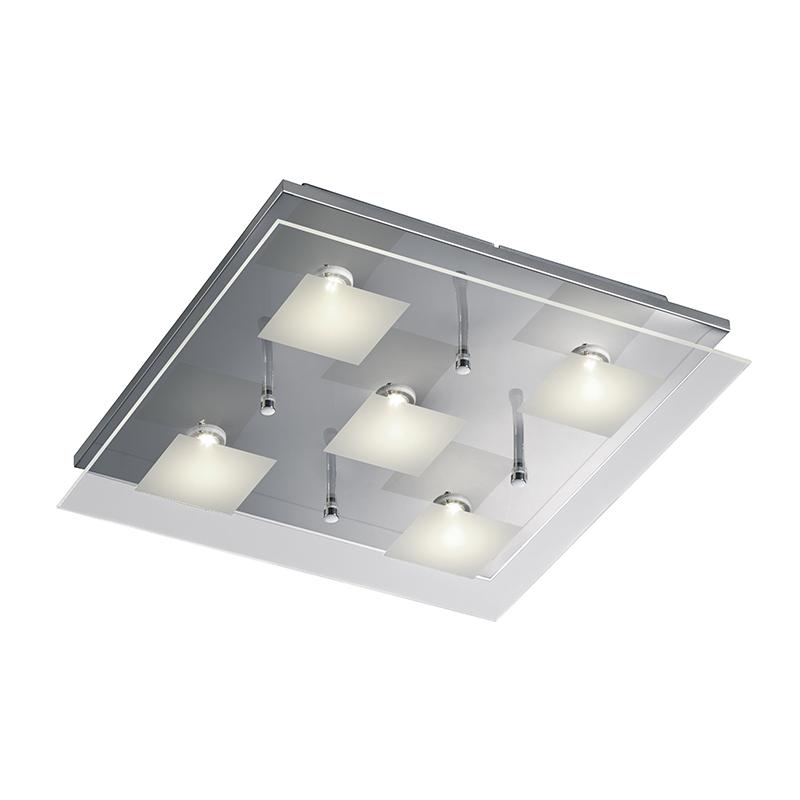 Moderne vierkante plafondlamp chroom incl. LED - Antonio